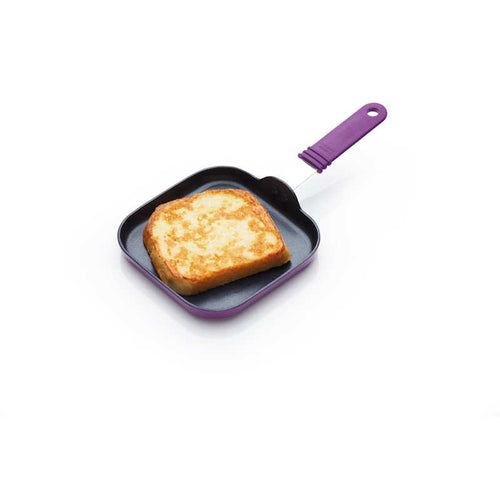 Colourworks Square Frying Pan Purple with French Toast