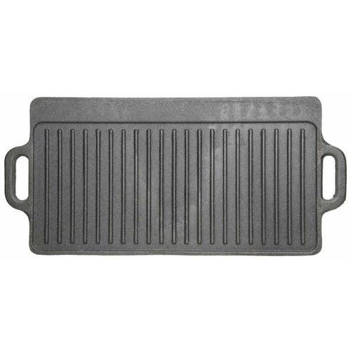 KitchenCraft Deluxe Cast Iron Griddle 45cm x 23cm ribbed side