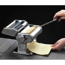 Load image into Gallery viewer, KitchenCraft World of Flavours Italian Deluxe Double Cutter Pasta Machine in use