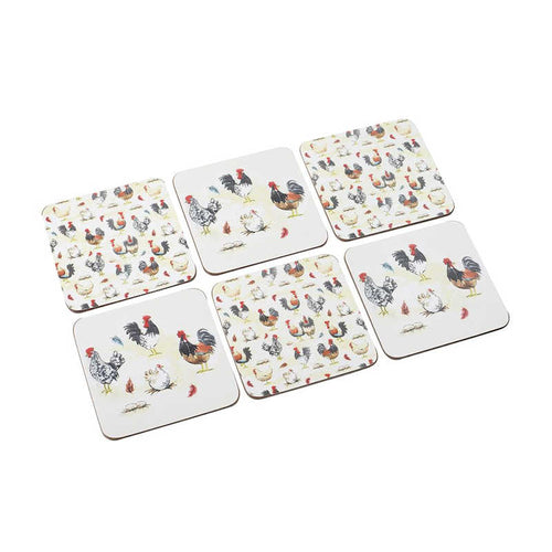 Stow Green Rooster Cork Backed Coasters (Set of 6)
