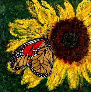 Butterfly Sunflower Hope 20x20