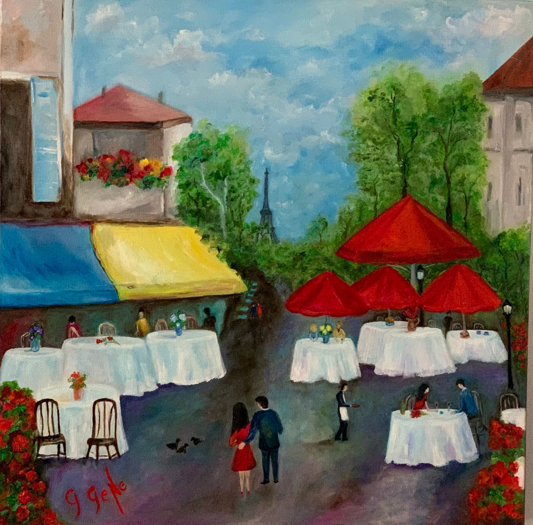 Paris Cafe 20x20 Oil