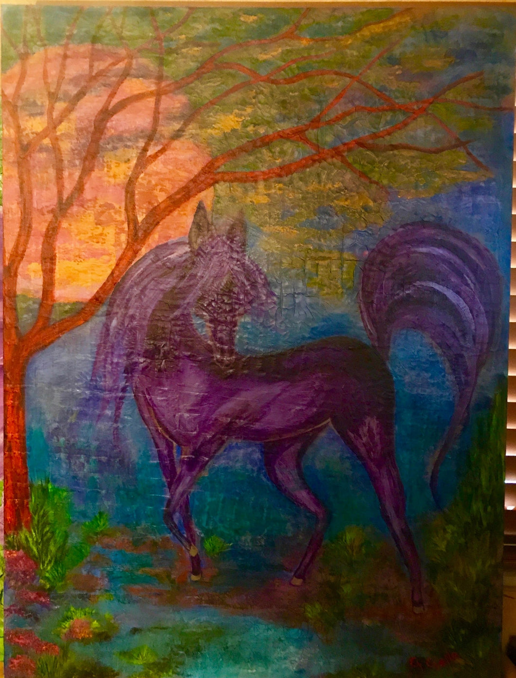Purple Mare in the sunset 30x40