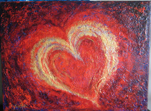 Hearts of Fire Gold 18x24