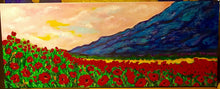 Load image into Gallery viewer, Textured Blue Mountains and Poppies 16 x 40