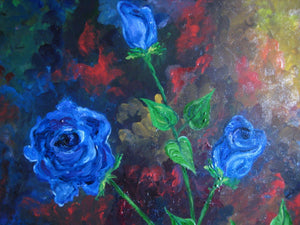 Abstract Blue Roses in Oil 18x24