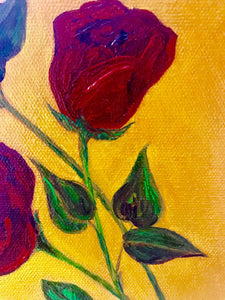 Red Roses on yellow Oil 8x10