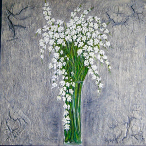 White Spring Blossoms 36x36 Custom Framed
