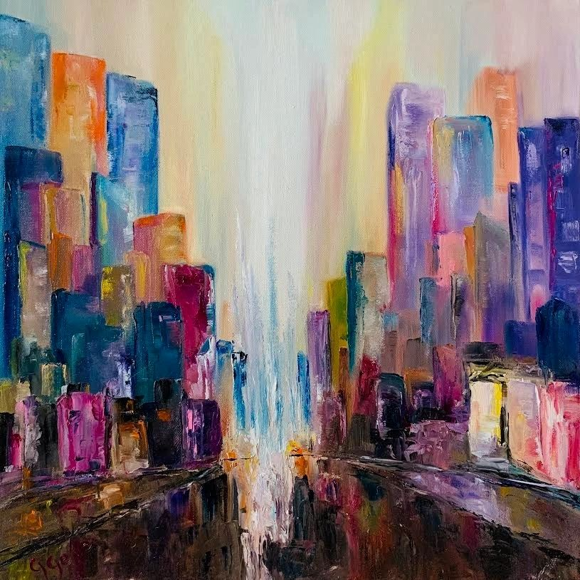 Skyscrapers 20x20 oil