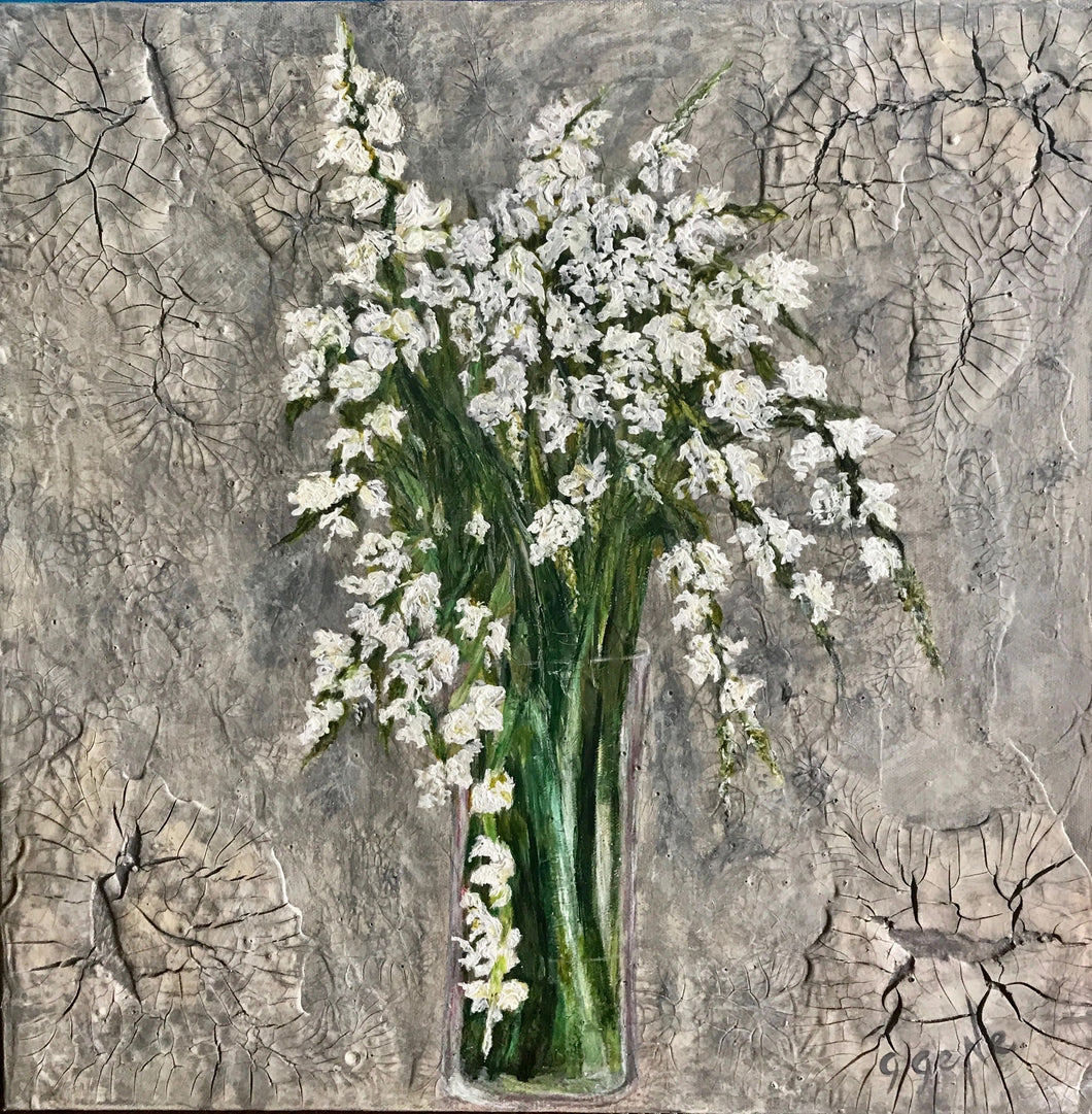 White Spring Blossoms 20x20