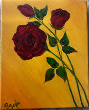 Load image into Gallery viewer, Red Roses on yellow Oil 8x10