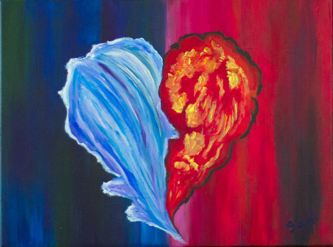 Fire and Ice the kiss # 2 18x 24