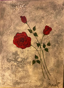 3 Red Roses Mixed Media 18x24