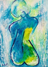 Load image into Gallery viewer, Aqua Girl in the Rain 18 x 24