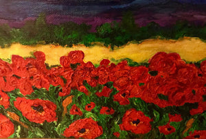 Textured Blue Mountains and Poppies 16 x 40