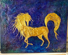 Load image into Gallery viewer, Gold Arabian Horse 16 x 20