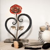 Personalized Gift Hand-Forged Wrought Iron Red Metal Rose with Heart-Shaped Stand
