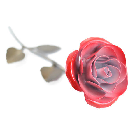 Personalized Gift Hand-Forged Wrought Iron Red & White Metal Rose