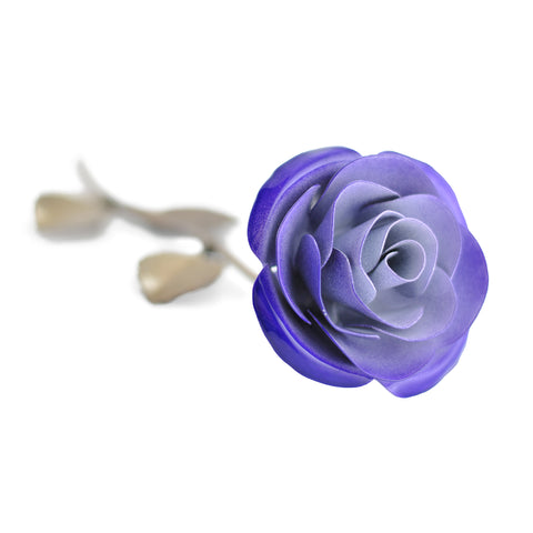 Personalized Gift Hand-Forged Wrought Iron Purple & White Metal Rose