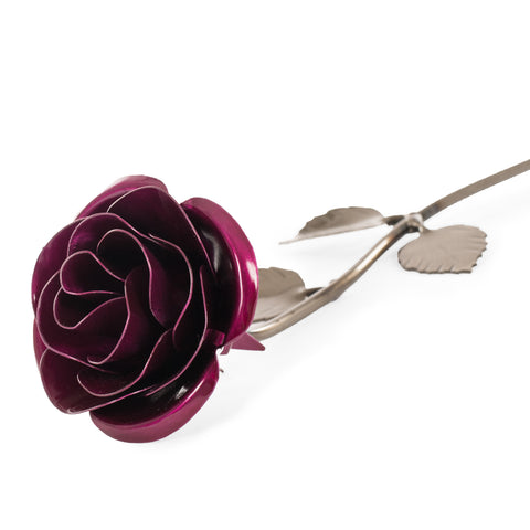 Personalized Gift Hand-Forged Wrought Iron Magenta Metal Rose
