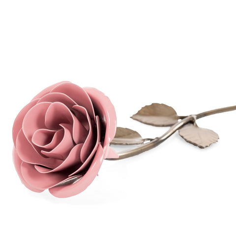 Personalized Gift Hand-Forged Wrought Iron Light Pink Metal Rose