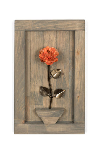 Personalized Gift - Framed Copper Metal Rose for 7th Anniversary