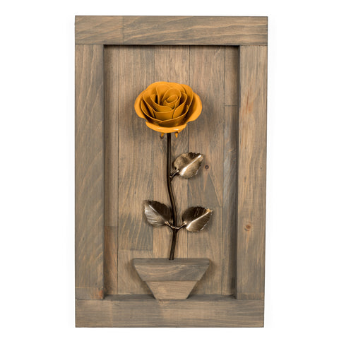 Personalized Gift - Framed Yellow Metal Rose for Iron 6th Anniversary