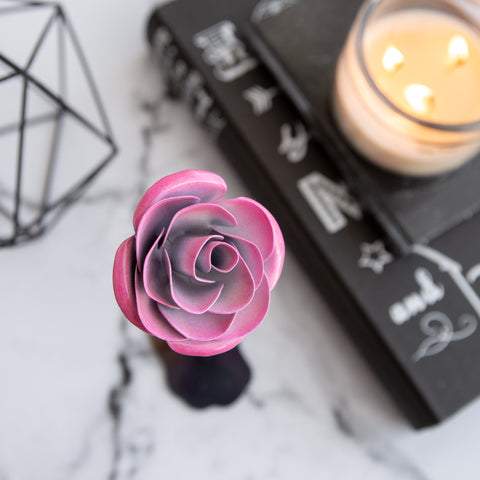 Personalized Gift Hand-Forged Wrought Iron Pink & White Metal Rose