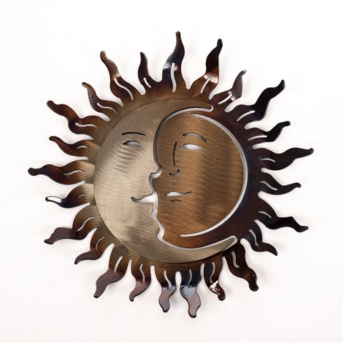 "Hand-Forged Wrought Iron Sun and Moon 12"" x 12"" Sculpture - Wall Art"