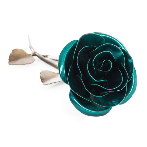 Personalized Gift Hand-Forged Wrought Iron Emerald Green Metal Rose