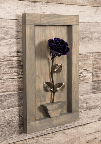 Personalized Gift - Framed Purple Metal Rose for Iron 6th Anniversary