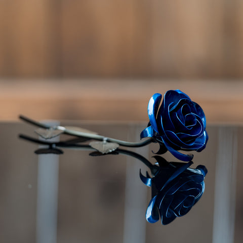 Personalized Gift Hand-Forged Wrought Iron Blue Metal Rose