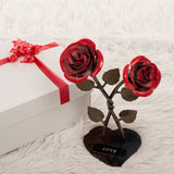 Personalized Gift Hand-Forged Wrought Iron Double Red Metal Rose with Twist