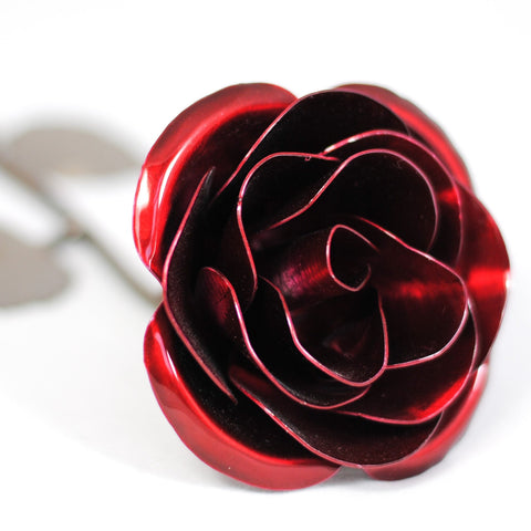 Personalized Gift Hand-Forged Wrought Iron Red Metal Rose