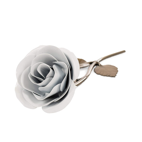 Personalized Gift Hand-Forged Wrought Iron White Metal Rose