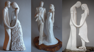 wedding day, love, couples taking vows, sculpture, white,
