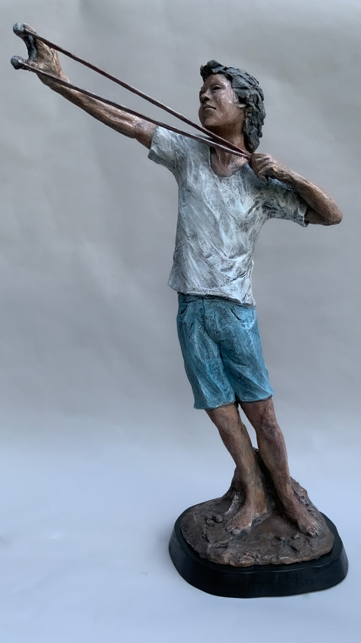 Taking Aim | Stoneware Sculpture | Boy Draws His Sling-Shot to Full Extent | Ready to Fire!