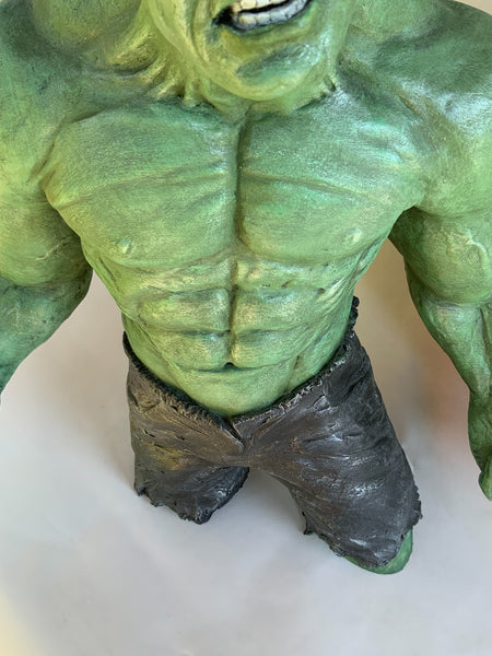 Stoneware Sculpture of Super Hero | The Incredible HULK | Mean and Green | Muscles ripple as he stares and snares at you.