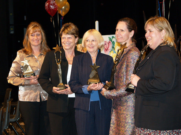 5 ladies | town of Ajax award recipients proudly display their trophies | Good neighbour Award | Community Award