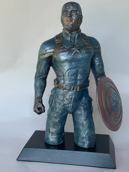 Stoneware Sculpture of Captain America | Super Hero | Shield in Hand |Stands Ready to defend the world.