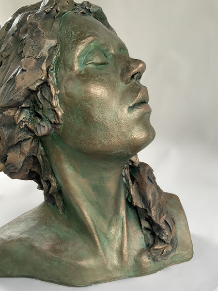 A Moment of Peace | Stoneware Sculpture | Bust of Woman | Long Hair | Eyes Closed | Prayer | Praying | Peaceful