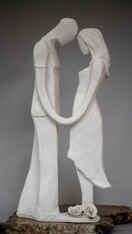 Ben & Lisa | Beautiful sculpture of man and Woman Facing each other Holding Hands | Wedding Decor Centrepiece