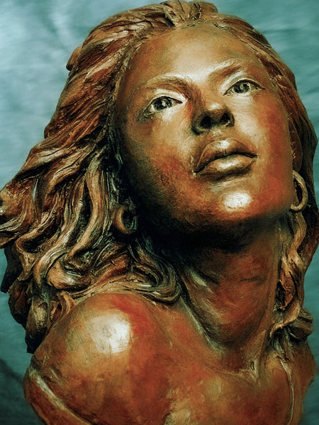 Bronze - terra cotta custom made sculpture of a long haired beautiful woman