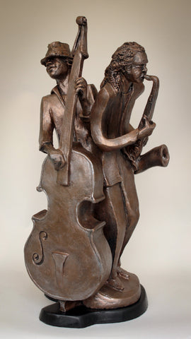 * Harmonizing in 'A' | Stoneware Sculpture | Musicians | Jazz | Blues | Rhythm & Blues Players | Harmonizing in Blues | Blues Musicians | Smooth Sax Solo| Rhythmic Bass Line | by Headley Sculptures | Wayne Headley | Bronze Limited Edition | Resin | Black Art | Blues | Jazz | R&B | Soul | Inspiration