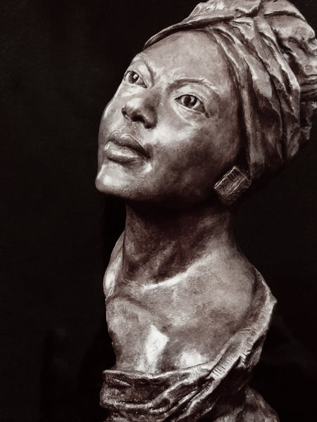 Belle | Beautiful Woman | Black | African | Portrait Sculpture | Stoneware | Terra Cotta | Bust | Cool Head Wrap | Off the Shoulder  | Shawl