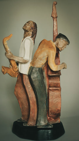 * Harmonizing In D | Stoneware Sculpture | Saxist & Bassist Pause to Rest Between Beats