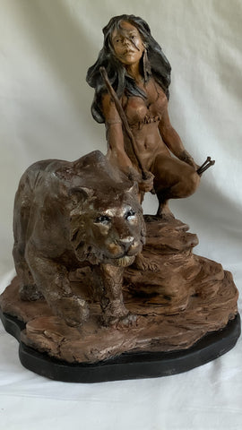 Brave | Stoneware Sculpture | Native American | Canadian | Female Warrior with bow in one hand and a quiver of arrows in the other | With Mystical Panther-Like Companion | Crouched in position ready to attack.