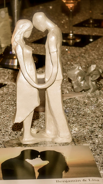 Ben & Lisa | Man and Woman Stoneware Sculpture | Facing each other | Holding Hands | Wedding | Centrepiece