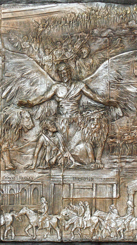 Walking With Integrity | Limited Edition Resin Relief | Biblical Depiction of Faith | Angel protects Daniel | Lions Den
