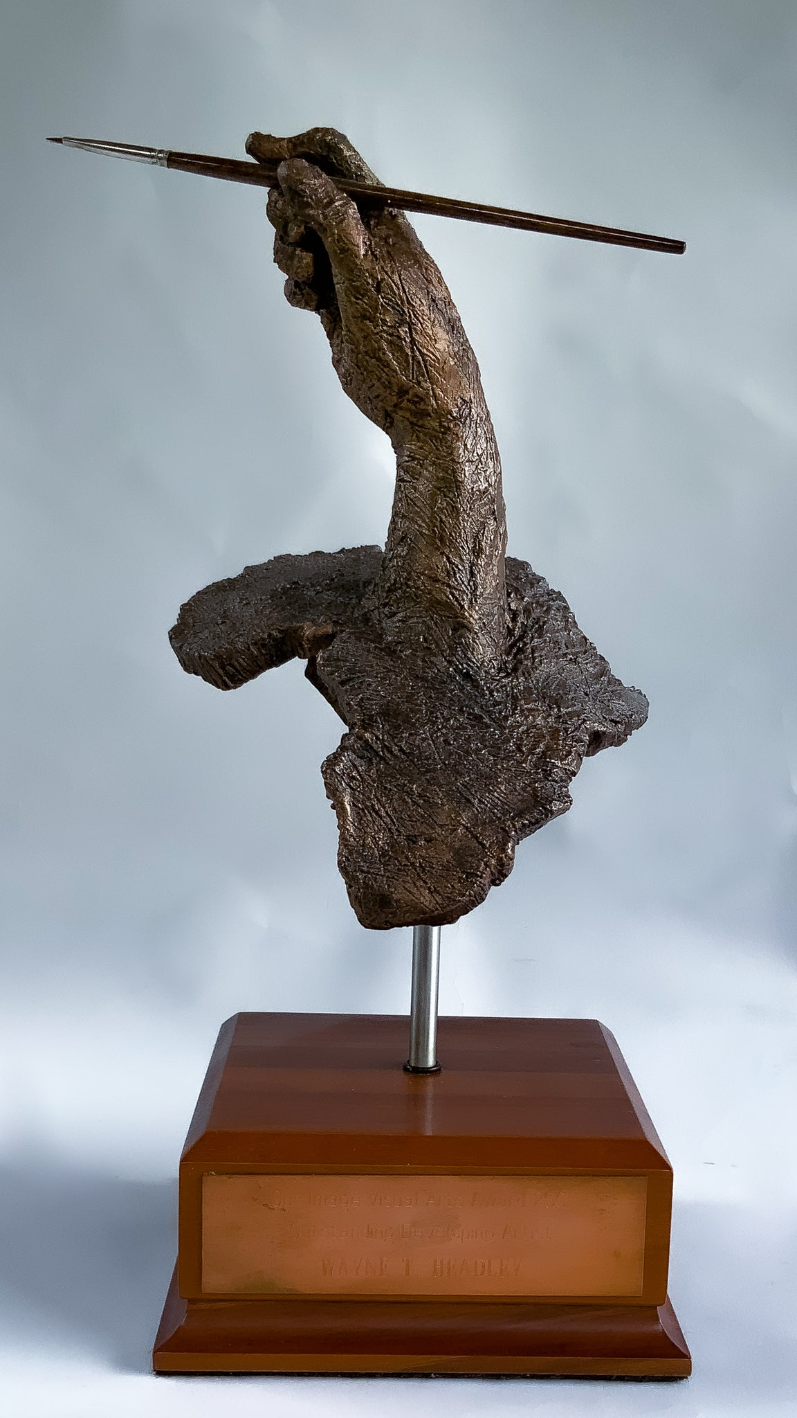 African Artist | Custom Award | Trophy | Right hand with paint brush poised emerges from the African Continent